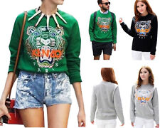 Men Women Embroidery Tiger Head Top Blouse Jumper Hoodie Sweater Celebrity Style
