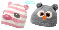BNWT Girls Knitted Beanie Hat 3-8yr OWL or PUSSY-CAT Ears Cute Winter Woolly NEW