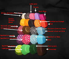 100 CUPCAKE LINER BAKING PAPER MUFFIN PATTY CASES RED BLACK BLUE PINK PURPLE