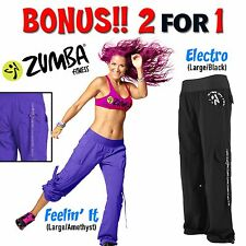 2-for-1 NWT!! Authentic New in Package Zumba Cargo Pants Large Feelin It Electro