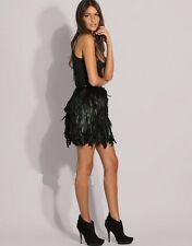 Womens High Fashion Black Lined Rooster Feather Mini Skirt