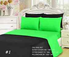 Tache 4-6 Piece Solid Neon Lime Green and Black Duvet Cover and Fitted Sheet Set