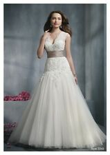 2013 New Sexy V Neck Sleeves Lace Wedding Dresses Bridal Gown Custom Size