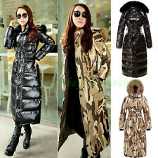women's winter coat full length jacket slim fit warm duck down fur hooded parka