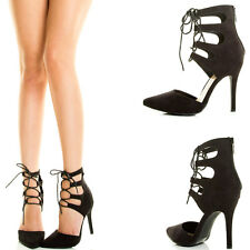 OPEN TOE STRAPPY CAGE GLADIATOR CUT OUT HIGH HEEL STILETTO SANDAL PUMP KNEE BOOT