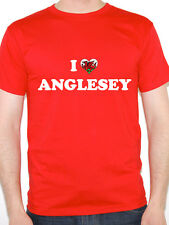 I LOVE ANGLESEY - Wales / Welsh / British Isle / Novelty Themed Mens T-Shirt