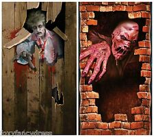 ZOMBIE SCARY HALLOWEEN PROP DOOR COVER POSTER DECORATION  MELTING ZOMBIE 6'x3'