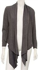 No 1 Funwear Factory Gray Drape Hemline Long Sleeve Lightweight Open Jacket