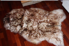 LARGE GENUINE SHEEPSKIN RUG-FLUFFY  WHITE-BROWN WOOL AMAZING