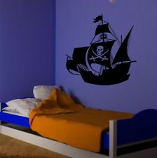 BOYS PIRATE SHIP wall sticker pirates bedroom kids name decal stickers art vinyl