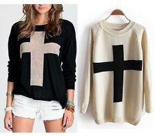 Fashion Womens Cross Pattern Long Sleeves Knitted Sweater Pullover Jumper Tops