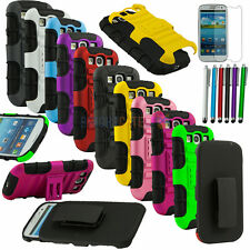 Combo Kickstand case w/ Holster Belt clip for Samsung Galaxy S3 III i9300 +Gifts