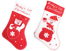 Babys 1st First Christmas Red / White Snwoman Stocking Sack with Padded Pocket