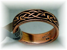 NEW Solid Copper Celtic Knot Band Ring - sizes 6 thru 13 -Pain Relief Folk Lore
