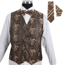 Men's Tuxedo Formal Vest Brown 4pc Set #005 - Vest w/ Bow Tie Hanky & Tie