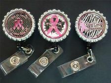 BREAST CANCER AWARENESS FIGHTING BACK RETRACTABLE REEL ID BADGE NAME TAG HOLER
