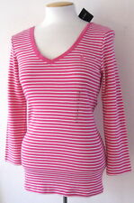 NWT Ralph Lauren Sport Women 3/4 Sleeve V-Neck Top Shirt Pink/White Stripe S M L