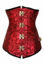 WOMENS RED BLACK CORSET UNDERBUST LEATHER FETISH DRESS BONDAGE SIZE S M L XL XXL