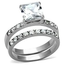2.86 Ct Princess Cut CZ Stainless Steel Women's Engagement 2 RINGS SET SIZE 5-10