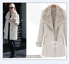 Hot NEW Womens Wool 3in 1 Fur Collar long jacket Thick coat Parka trench outwear