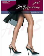 Hanes Silk Reflections Control Top, Sandalfoot Pantyhose 4-Pack style 717