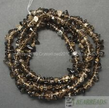 Natural Smoky Quartz Gemstone 5-8mm Chip Nugget Loose Spacer Beads Necklace 35""