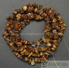 """Natural Tiger's Eye Gemstone 5-8mm Chip Nugget Loose Spacer Beads Necklace 35"""""""