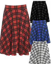 Womens Plus Size Check Block Flippy Waist Band Flared Skater Skirts