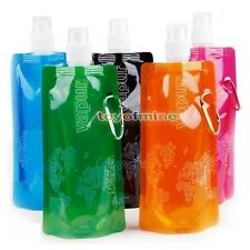 Flexible Foldable Reusable Water Bottle Bag W/Carabiner 16oz/480ml Sports Hiking