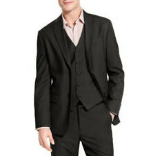 NEW PERRY ELLIS CLASSIC FIT BLACK TEXTURED STRIPE SUIT BLAZER JACKET