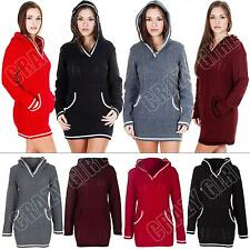 New Womens Ladies Cable Knitted Hooded Top Jumper Dress Size 8 10 12 14 16 18 20