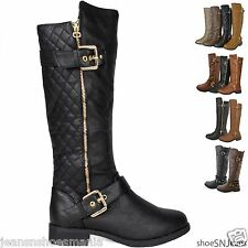 NEW Women's Hot Fashion Knee High Riding Flat Heel Boots Zipper Buckle Flat Heel