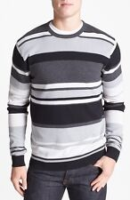 FRENCH CONNECTION FCUK MEN'S AUDERLY CREWNECK THERMAL LS STRIPE SWEATER NWT