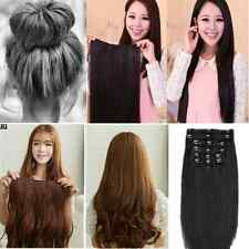 Human Made hair extensions Donut Bun Styler straight curly Wavy Full head clips