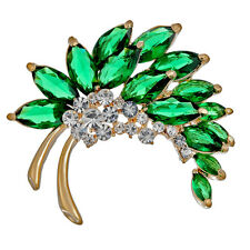 Floral Leaf Brooch Pin Jewelry Swarovski Crystal Elements Christmas Gift Present