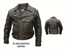 Mens Buffalo Leather Motorcycle Jacket Vintage Look Pistol Pete AL2014