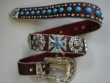 Western SHOW Brown BLUE Berry Bling BOLD Belt Buckle Concho Ladies Gift Idea!