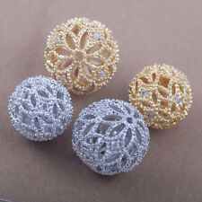 AAA crystal rhinestones cz pave round bead charm Spacer hollow cutout floral