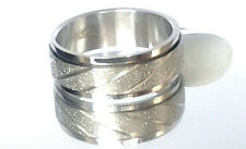 Mens Womens SILVER FROST SPINNER RING Stainless Steel Wedding Band/Multi Sizes