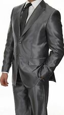 Men's Sharkskin Chrome Shiny Grey Suit