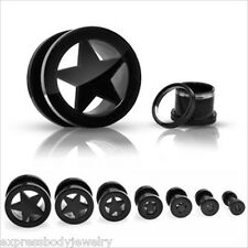 Pair Black Titanium Star Screw On Hollow Tunnels Ear Plugs Earlets Gauges