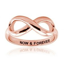 Women's Sterling Silver 925 Rose Gold Plated Now & Forever Infinity Wedding Ring