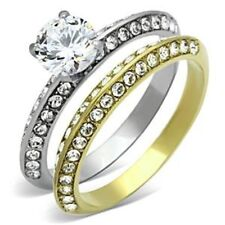 1.07ct Two Tone Gold Plated over 316 Stainless Steel Wedding 2 RINGS SET SZ 5-10