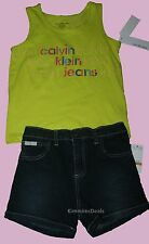 CALVIN KLEIN JEANS GIRLS LIME GLITTER TANK SHIRT + SHORTS SET NEW