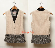 NEW Anthropologie Edel Sherpa Vest By Cartonnier sz M $168 Mixed of patterns