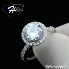 Women's Stainless Steel Silver 1.5 CT Round Cut CZ Engagement Ring Size 6-9