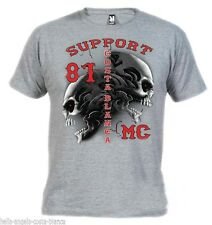 01 Tribal Sculls Gray T-Shirt Support81 Big Red Machine 1% Hells Angels Biker666