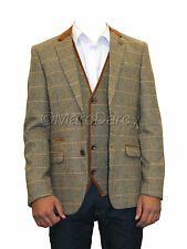 Mens Designer Brown Tweed Herringbone Vintage Coat Jacket Checked Tan Blazer