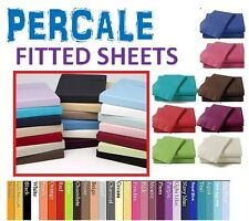 PERCALE POLYCOTTON FITTED SHEET SINGLE 4FT SML DOUBLE KING SUPER KING PILLOWCASE