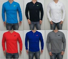 NWT HOLLISTER By Abercrombie Men Muscle Fit Avalon Long Sleeve Henley T Shirt